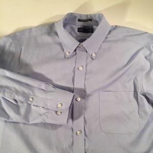 Lands End no iron slim fit blue dress shirt 16